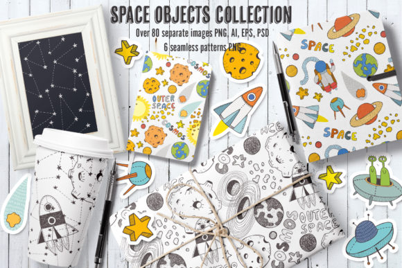 Space Objects Collection Graphic