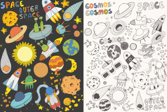 Space Objects Collection Graphic Design