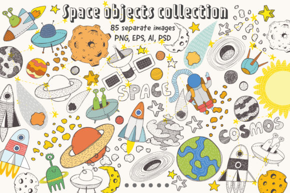 Space Objects Collection Graphic Popular Design