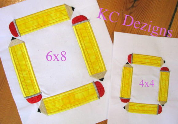 Square Pencil Monogram Back to School Embroidery Design By karen50 - Image 1