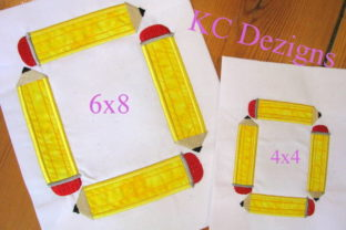 Square Pencil Monogram Back to School Embroidery Design By karen50