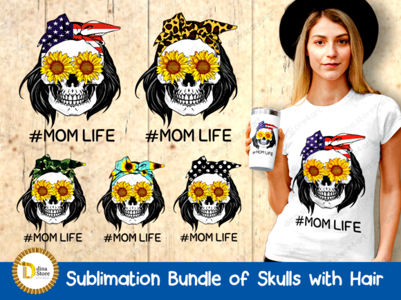 Print on Demand: Sublimation Bundle of Skulls with Hair Graphic Crafts By dina.store4art - Image 1