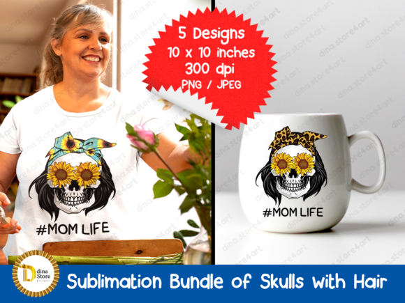 Print on Demand: Sublimation Bundle of Skulls with Hair Graphic Crafts By dina.store4art - Image 2