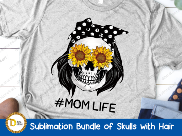 Print on Demand: Sublimation Bundle of Skulls with Hair Graphic Crafts By dina.store4art - Image 3