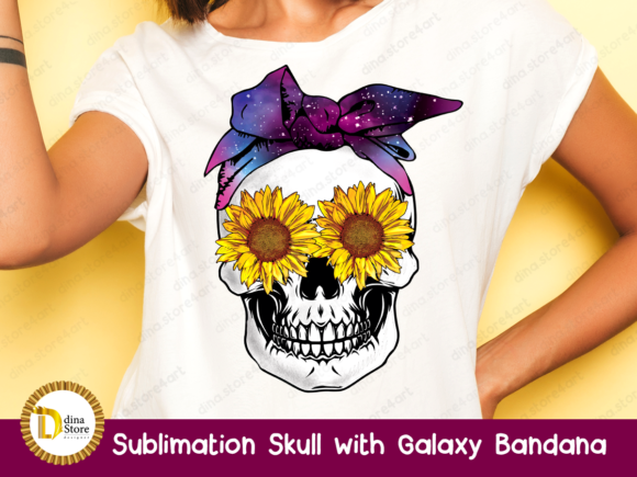 Print on Demand: Sublimation Skull with Galaxy Bandana Graphic Crafts By dina.store4art