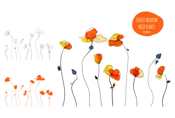 Sunset Meadow Wild Plants Graphic Illustrations By Snowstorm's Box