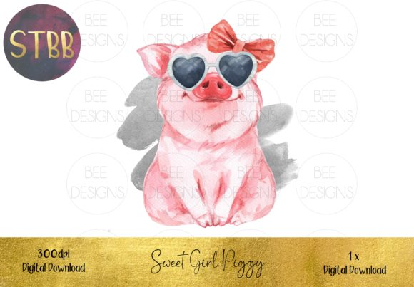 Sweet Girl Pig Sublimation Design Graphic Illustrations By STBB - Image 1