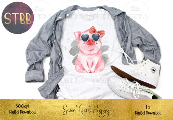 Sweet Girl Pig Sublimation Design Graphic Illustrations By STBB - Image 2