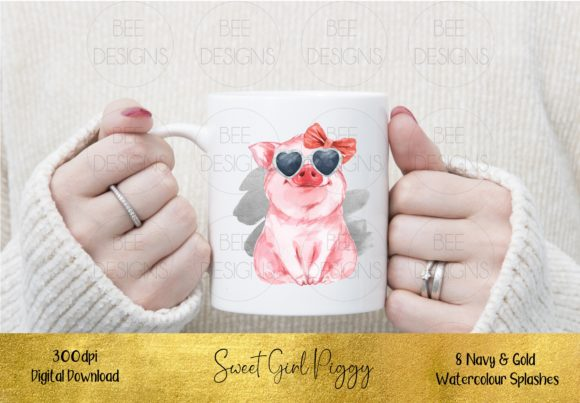 Sweet Girl Pig Sublimation Design Graphic Illustrations By STBB - Image 3