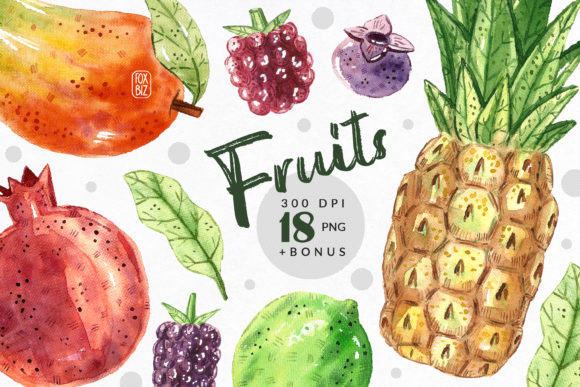 Print on Demand: Tropical Fruits Watercolor Clipart Graphic Illustrations By FoxBiz