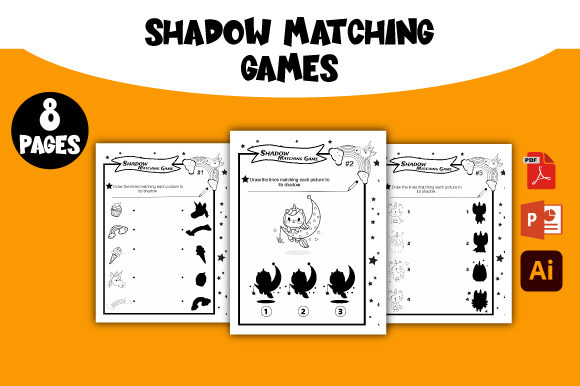 Print on Demand: Unicorn Shadow Matching Games Graphic KDP Interiors By AZ DESIGNS