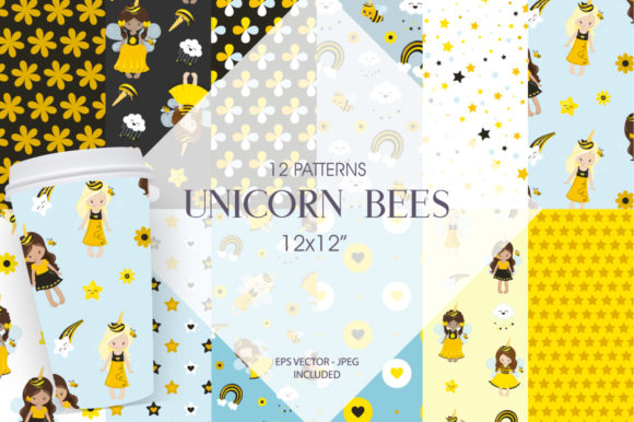 Print on Demand: Unicorn Bees Graphic Patterns By Prettygrafik - Image 1