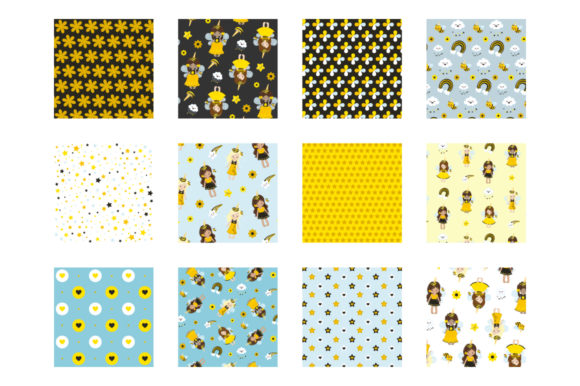 Print on Demand: Unicorn Bees Graphic Patterns By Prettygrafik - Image 2