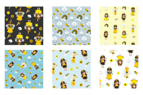 Print on Demand: Unicorn Bees Graphic Patterns By Prettygrafik - Image 3