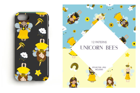 Print on Demand: Unicorn Bees Graphic Patterns By Prettygrafik - Image 4