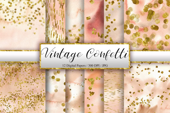 Vintage Confetti Gold Glitter Background Graphic Backgrounds By PinkPearly