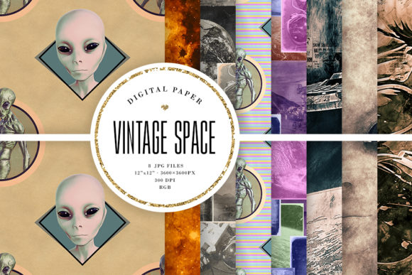 Print on Demand: Vintage Style Aliens & Space Backgrounds Graphic Backgrounds By Sabina Leja