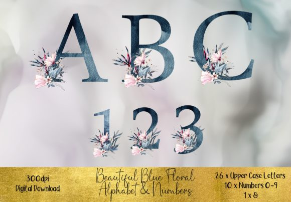 Watercolour Blue Floral Alphabet Graphic Illustrations By STBB