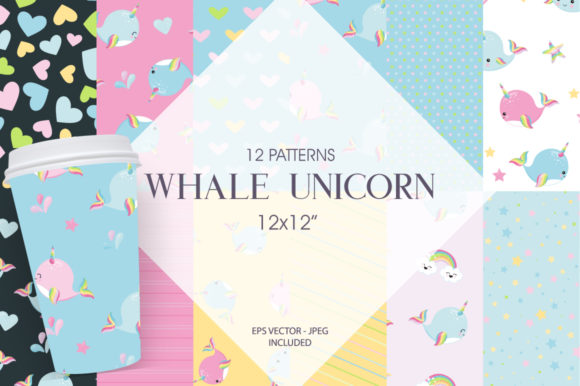 Print on Demand: Whale Unicorn Graphic Patterns By Prettygrafik