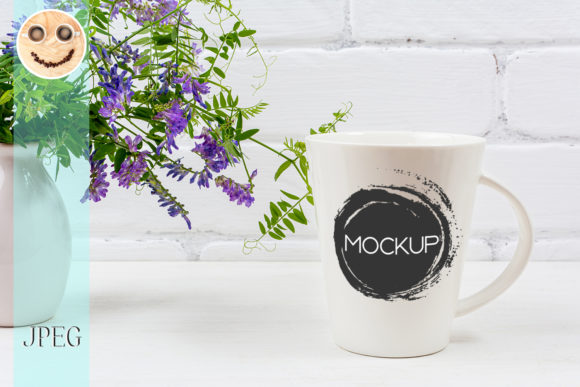 Print on Demand: White Coffee Latte Mug Mockup with Purple Graphic Product Mockups By TasiPas