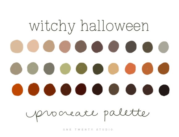 Witchy Halloween Procreate Palette Graphic Actions & Presets By One Twenty Studio