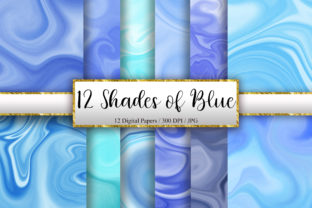Print on Demand: 12 Shades of Blue Marble Background Graphic Backgrounds By PinkPearly
