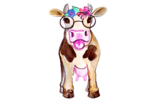 Cow with Flower Crown Animals Craft Cut File By Creative Fabrica Crafts