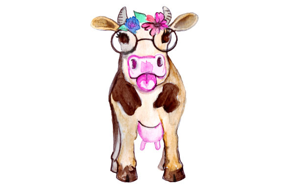 Cow with Flower Crown Animales Archivo de Corte Craft Por Creative Fabrica Crafts