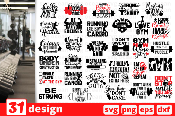 Print on Demand: 31 Gym Quote Designs Bundle Graphic Crafts By SvgOcean