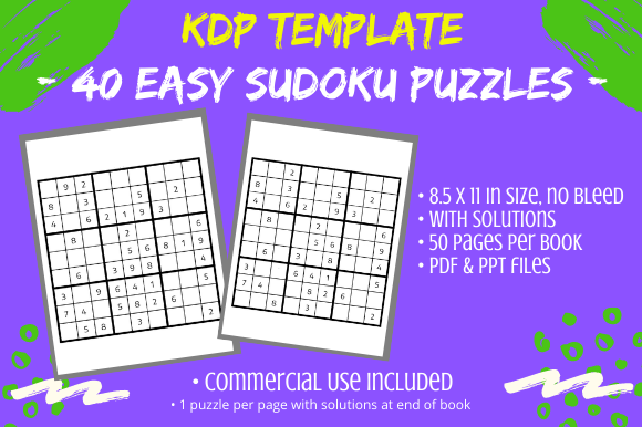 Print on Demand: 40 Easy Sudoku Puzzles & Solutions 4 KDP Graphic KDP Interiors By Tomboy Designs