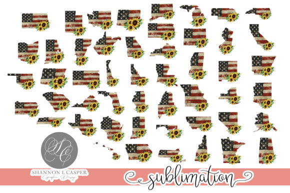 Print on Demand: 50 States Sunflower and American Flag Graphic Illustrations By Shannon Casper
