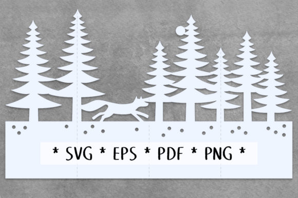 Print on Demand: Arctic Fox Accordion Card SVG Cut File Graphic 3D SVG By Nic Squirrell - Image 2
