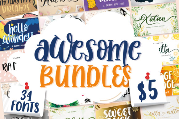 Print on Demand: Awesome Fonts Bundle Vol 01  von Fallengraphic