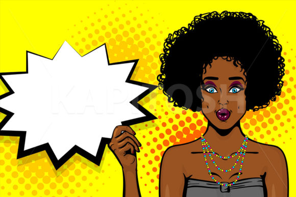 Black African-american Girl Pop Art Graphic Illustrations By Kapitosh