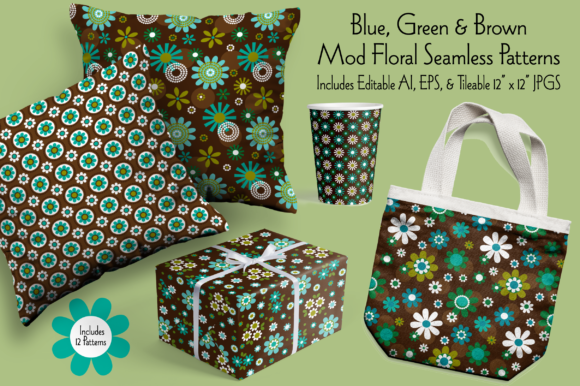 Blue, Green & Brown Mod Seamless Florals Graphic Patterns By Melissa Held Designs