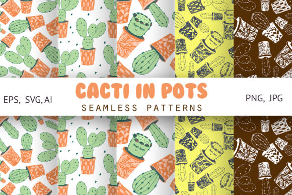 Print on Demand: Cacti with Funny Kawaii Faces. Patterns Graphic Patterns By Natika_art