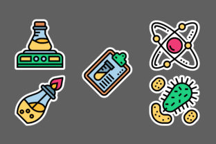 Chemistry Stickers White Graphic Icons By ciloraphic