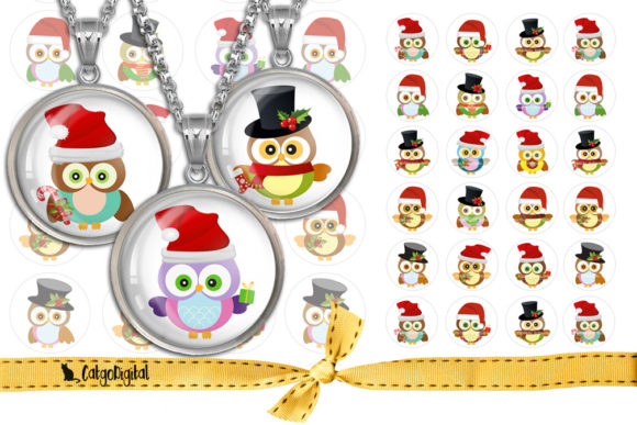 Print on Demand: Christmas Owls Printable Circles Graphic Crafts By CatgoDigital