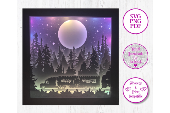 Christmas Santa Truck - 3D Shadow Box Graphic 3D Shadow Box By Jumbleink Digital Downloads - Image 1
