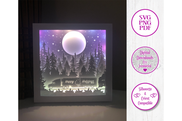 Christmas Santa Truck - 3D Shadow Box Graphic 3D Shadow Box By Jumbleink Digital Downloads - Image 3