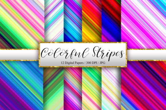 Colorful Stripes Digital Papers Graphic Backgrounds By PinkPearly - Image 1