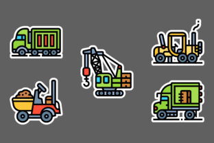 Construction Vehicle & Worker Stickers W Graphic Icons By ciloraphic