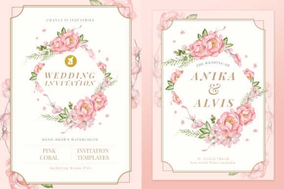 Coral Pink Wedding Invitation Graphic Graphic Print Templates By Chanut is industries