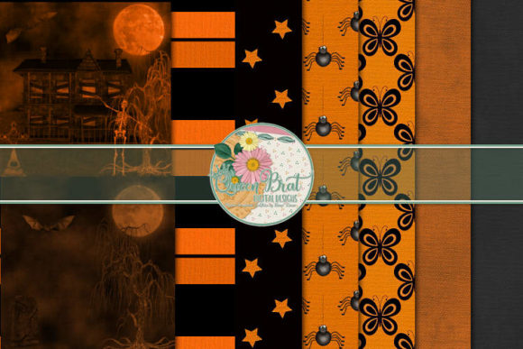 Print on Demand: Dance of the Pumpkin Fairies Papers Graphic Backgrounds By QueenBrat Digital Designs