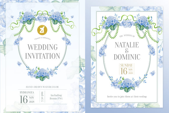 Dusty Blue Wedding Invitation Graphic Graphic Print Templates By Chanut is watercolor