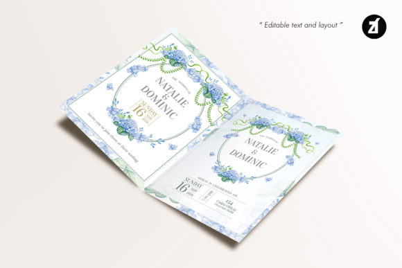 Dusty Blue Wedding Invitation Graphic Graphic Item