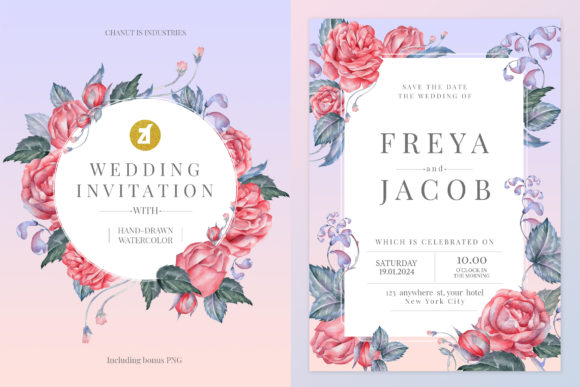 English Rose Wedding Invitation Vol.02 Graphic Print Templates By Chanut is industries