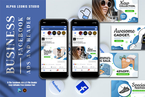 Facebook Ads and Header Graphic Graphic Templates By alphaleonis.studio
