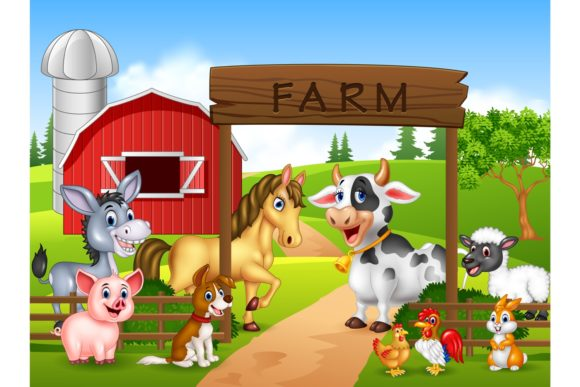 Farm Animals Vector Set Graphic Illustrations By tigatelusiji
