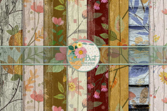 Print on Demand: Floral Wood Papers 3 Graphic Backgrounds By QueenBrat Digital Designs